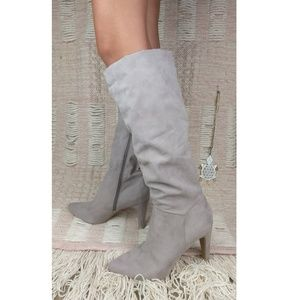 Knee High Faux Suede Heeled Boots Like New B9